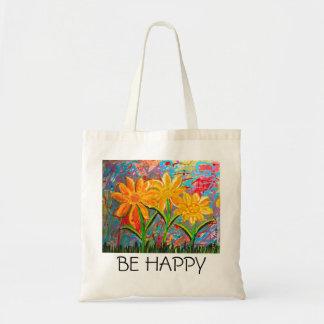 Sea flores felices bolsa tela barata