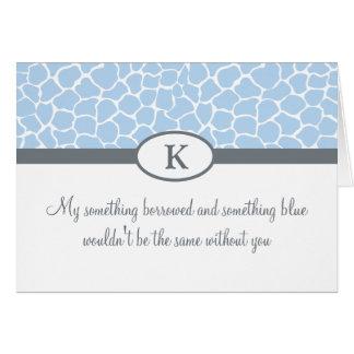 Sea mi dama de honor - estampado de girafa azul tarjeta pequeña