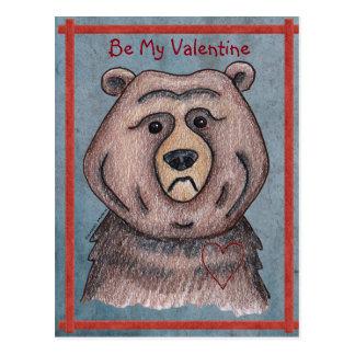 Sea mi postal del oso de la tarjeta del día de San