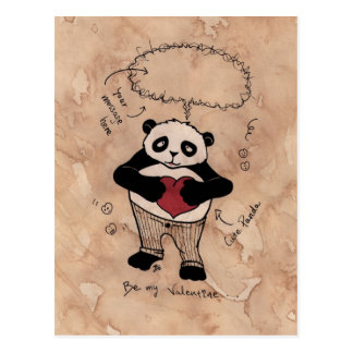 Sea mi tarjeta del día de San Valentín, Panda. Postal