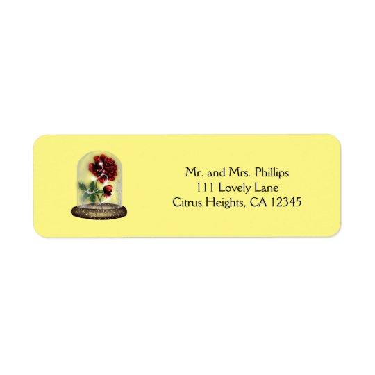 Sea nuestro rosa rojo de la huésped en elegante de etiqueta de remite