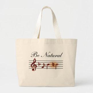 Sea tote natural de la música bolsa tela grande