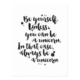 Sea un unicornio - tarjeta inspirada