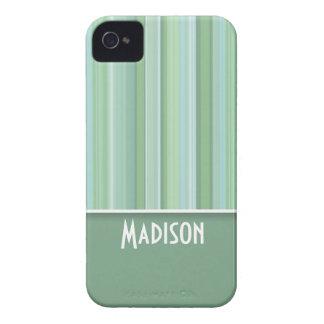 Seafoam lindo, verde salvia, y azules cielos rayad iPhone 4 Case-Mate cárcasas