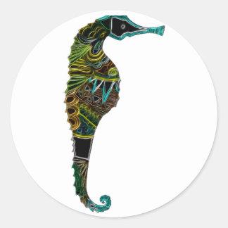 Seahorse 1 pegatina redonda