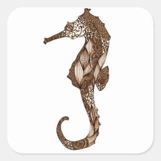 Seahorse 3 pegatina cuadrada