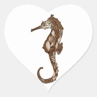 Seahorse 3 pegatina en forma de corazón