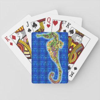 Seahorse en modelo azul barajas de cartas