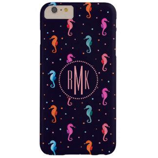 Seahorses de la acuarela en modelo de los azules funda barely there iPhone 6 plus
