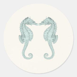Seahorses del vintage que casan a los pegatinas pegatina redonda