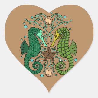 Seahorses Pegatina En Forma De Corazón