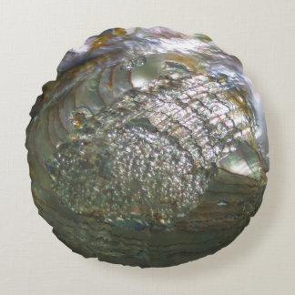Seashell brillante del olmo, naturaleza hermosa cojín redondo