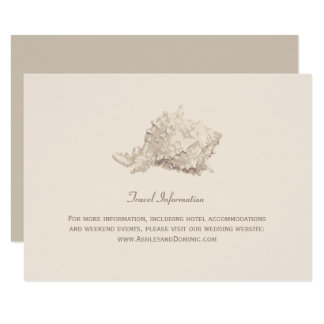 Seashell de marfil de la tarjeta de información