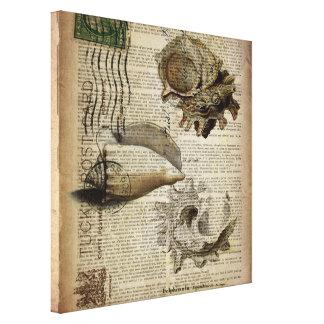 seashell moderno del vintage de la impresión con