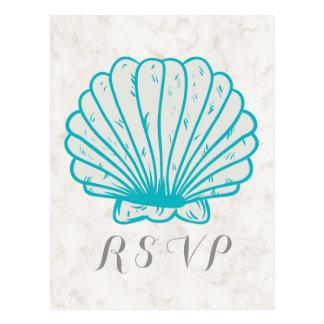 Seashell rústico de la turquesa que casa la postal