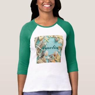 seashell, vintage, collage, turquesa, moda, de camiseta