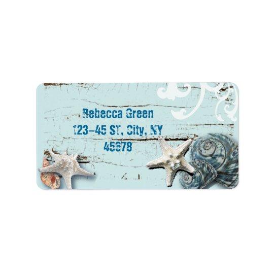 Seashells azules de las estrellas de mar de la etiquetas de dirección