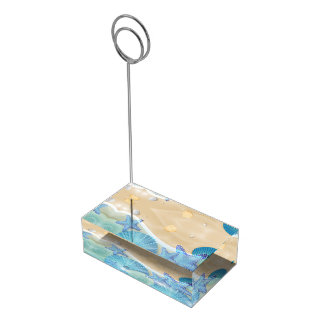 Seashells azules que casan el portatarjetas de la soporte de tarjeta de mesa