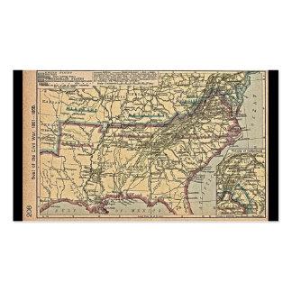 Seat de la guerra civil, mapa 1861 - 1865 tarjetas de visita