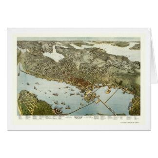 Seattle, mapa panorámico de WA - 1891 Felicitación