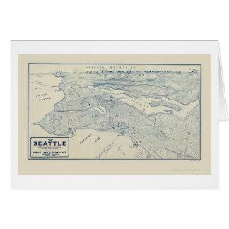 Seattle, mapa panorámico de WA - 1925 Tarjeta De Felicitación