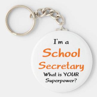 Secretaria de la escuela llavero redondo tipo chapa