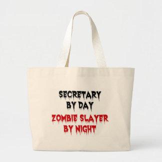 Secretaria del asesino del zombi del día por noche bolsa de tela grande
