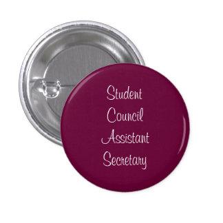 Secretaria del ayudante del consejo de estudiantes chapa redonda de 2,5 cm