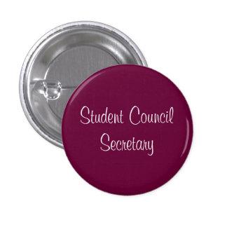 Secretaria del consejo de estudiantes chapa redonda de 2,5 cm