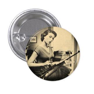 Secretaria descarada Rifle Gun Fashion Button del  Chapa Redonda De 2,5 Cm