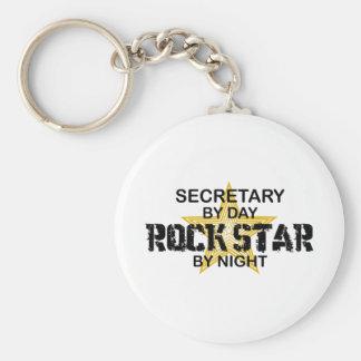 Secretaria estrella del rock por noche llavero redondo tipo chapa