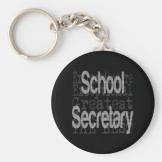 Secretaria Extraordinaire de la escuela Llavero Redondo Tipo Chapa