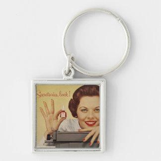 Secretarias Look Vintage Advert Keychain Llavero Cuadrado Plateado