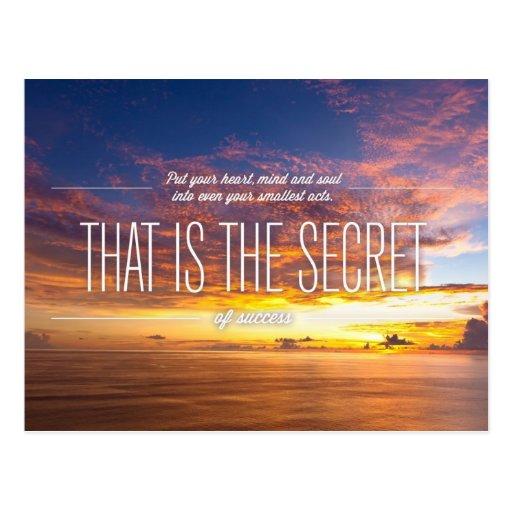 Secreto del éxito - cita de motivación postal