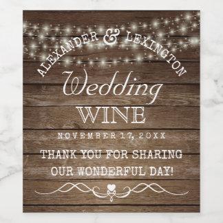 Secuencia de la botella rústica del boda del país etiqueta para botella de vino