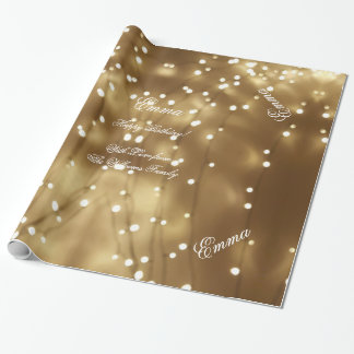 Secuencia de oro elegante de Brown de la moda Papel De Regalo