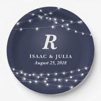 Secuencia del día de boda personalizado monograma plato de papel