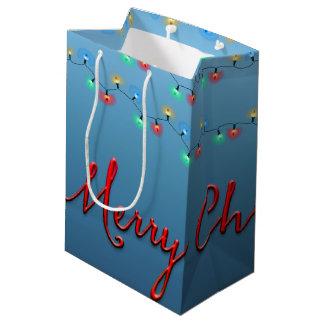 Secuencia ligera de las Felices Navidad Bolsa De Regalo Mediana