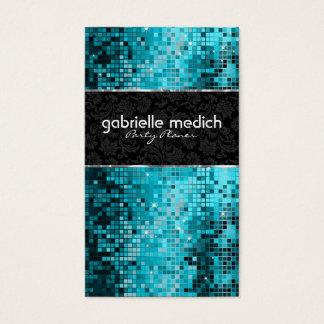 Secuencia metálica 2 del brillo azulverde elegante tarjeta de negocios