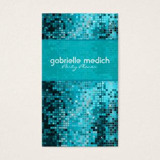 Secuencia metálica del brillo azulverde elegante tarjeta de negocios
