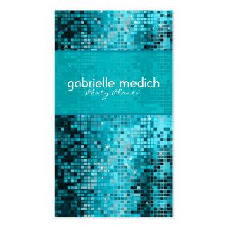 Secuencia metálica del brillo azulverde elegante plantilla de tarjeta de visita