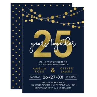 Secuencias azules del 25to aniversario de boda de invitación 12,7 x 17,8 cm