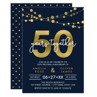 Secuencias azules del aniversario de boda de las invitación 12,7 x 17,8 cm