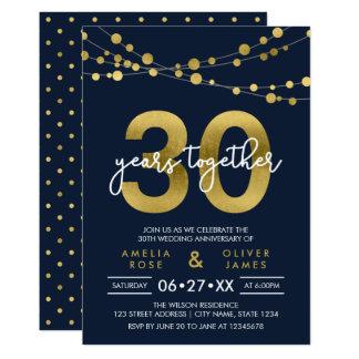 Secuencias azules del trigésimo aniversario de invitación 12,7 x 17,8 cm