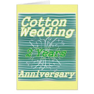 Segundo algodón del ~ del aniversario de boda tarjeta de felicitación
