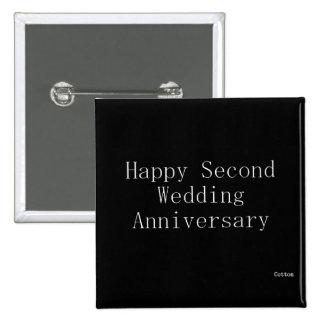 Segundo aniversario de boda feliz chapa cuadrada 5 cm
