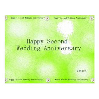 Segundo aniversario de boda feliz postal
