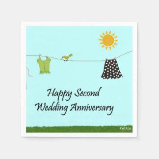 Segundo aniversario de boda feliz servilletas de papel