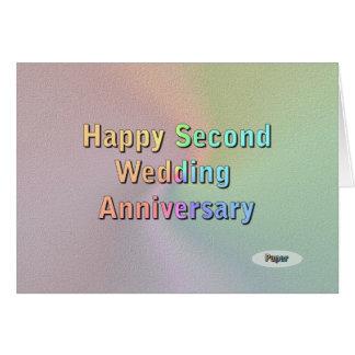 Segundo aniversario de boda feliz tarjeton
