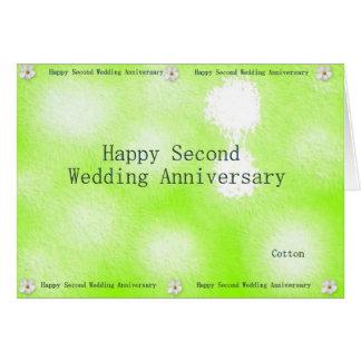 Segundo aniversario de boda feliz felicitacion